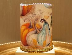 Thanksgiving LED Pillar Candle With Pumpkins, Fall Leaves And Berries by DontForgetTheFlowers on Etsy Flickering Lights, Flameless Candles, Pillar Candles, Wrapping Paper Bows, Wedding Gifts For Bride, Fall Candles, Just Because Gifts, Silk Flower Arrangements, Beautiful Candles