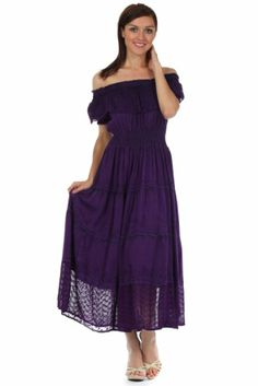 Amazon.com: Sakkas 8612 Stonewashed Off Shoulder Crepe Hem Peasant Dress - Purple - One Size: Clothing