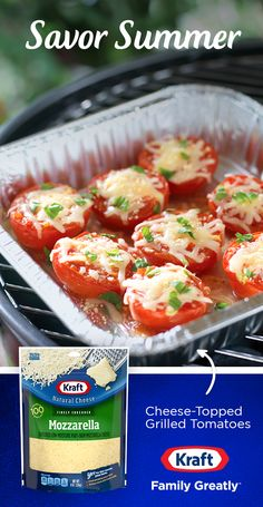Enjoy a smart summer side dish with these 5-ingredient Cheese-Topped Grilled Tomatoes. Tomatoes are halved, grilled, drizzled with zesty Italian dressing and topped with  melty Kraft Shredded mozzarella, Parmesan and a sprinkle of your favorite fresh herbs. Get the recipe from Kraft Natural Cheese.