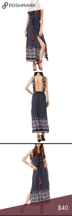 Bohemian Ethnic Backless Split O Neck Maxi Dress Flowy, hippie, chic long Maxi Dress with 3 slits to show leg. Unique boutique piece. Runs a little big, I'm usually a Medium and this is a Small and fits me perfect. Tags: Urban Outfitters, UNIF, Band of Gypsies, Blackmilk, Kimchi Blue, Nasty Gal Dresses Maxi