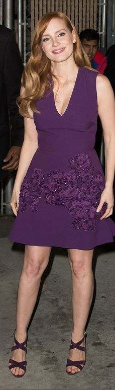 Who made Jessica Chastain's purple dress and sandals that she wore in Hollywood on January 13, 2015?