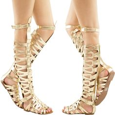 Gold Knee High Gladiator Flat Sandal