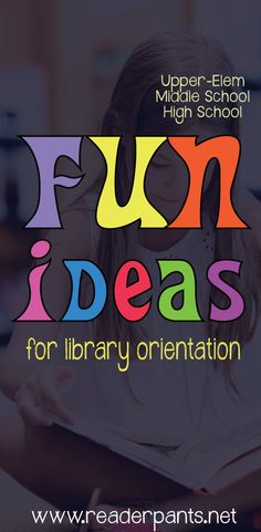 Fun Ideas for Library Orientation – Mrs. ReaderPants: Fun Ideas for Library Orientation School Library Themes, Library Rules, School Library Lessons, School Library Displays, Library Lesson Plans, Middle School Libraries, Elementary School Library, Teen Library, Library Skills