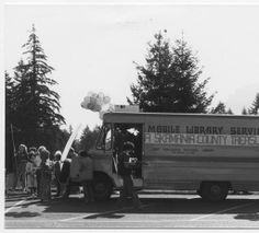 Skamania County bookmobile getting ready for the Skamania County Fair parade