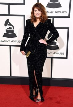 Meghan Trainor in a sparkling black custom design by Michael Costello with a center slit at the 2016 Grammys.