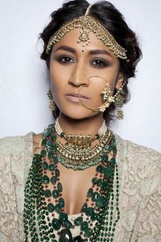 Emerald long chain,necklace with pearls and kundan,pearls mathapatti and nath by Sabyasachi