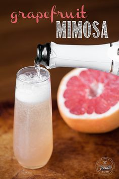 I make my Grapefruit Mimosa a little different than just combining champagne and grapefruit juice and the result is a sweet and flavorful pink cocktail.