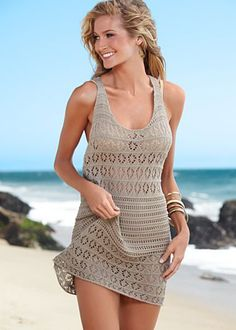 Racer back crochet swimsuit cover up