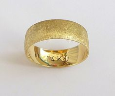 Gold wedding band men's wedding ring  with deep by havalazar, $240.00