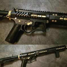 Black and gold build with Firearms Upper, lower, and handguard. Weapons Guns, Guns And Ammo, Rifles, Custom Guns, Custom Ar15, Ar Rifle, Ar Build, Ar Pistol, Assault Rifle