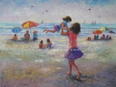♥♥♥ BEACH JOY! ♥♥♥  Precious twirling time at the beach with mom! You probably have joyful memories of fun in the sand too! Beach Joy is a large fine art print of an original oil painting of mine (the original is sold). It is printed on 13 X 19 heavyweight smooth cover paper. Image size 12 X 17 approx. + the white border. This lovely print will fit in a 13 X 19 ready-made glass/frame combo found at stores like Michaels Craft Stores or Hobby Lobby or a frame ordered on-line...or you can…