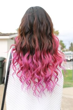 pink dip dye on chocolate brown hair. i like the amount of dip dyed hair given her length. want to go with something like this.