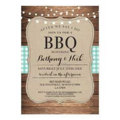 After We Say I Do BBQ Rustic Mint Lights Invite - wedding party gifts equipment accessories ideas