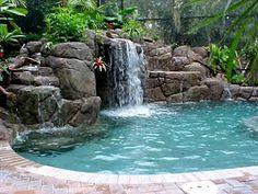 Backyard waterfall & pool