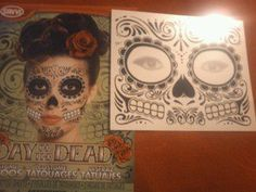 Temporary Day Of The Dead Face Tattoo.  $2.25