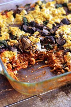 Baked Spaghetti with Kale, Mushrooms, And Tofu Ricotta | Hummusapien