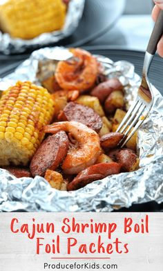 Enjoy all the flavors of a traditional shrimp boil in these easy-to-make foil packets! Packed with shrimp, sausage, potatoes, corn and a little Cajun seasoning, these foil packets are sure to be a hit with the family. Did we mention zero clean-up needed? Foil Pack Meals, Foil Dinners, Seafood Boil Recipes, Cajun Recipes, Cajun Seafood Boil, Shrimp Boil In Oven, Seafood Bake, Cajun Dishes, Shrimp Dishes