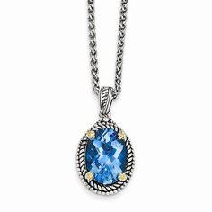 14K Yellow Gold Sterling Silver w/14k 6.00Swiss Blue Topaz 18in Necklace