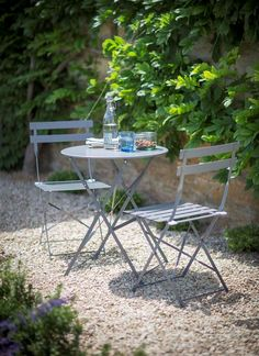 Bistro set of table & 2 Chairs in Shutter Blue - Garden Trading-£115