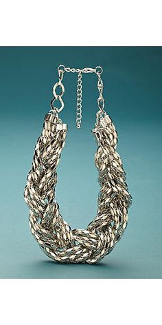 Silver Braided Chunky Necklace | Fabulous Furs