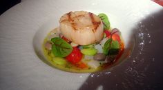 Seared scallop, fava beans, Rancho Gordo beans, heirloom tomatoes, sorrel by Stash41NYC, via Flickr