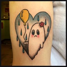 Sad ghost tattoo by Jennifer Trok @jennifertroktattoos