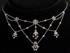 Gorgeous Edwardian Diamond Festoon Necklace