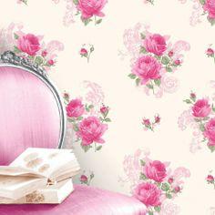 Rose pink wallpaper. £10.99 http://www.worldstores.co.uk/p/Crown_Tea_Rose_Pink_Floral_Wallpaper_10m_Roll.htm