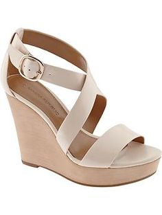 OMG! I absolutely LOVE these!!! I want them so bad. I have been looking for a wedge exactly like this for too long. Banana Republic_Isabel Wedge Sheer Pink 8 1/2