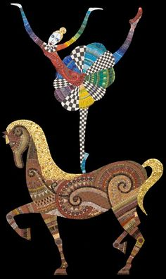 "Irina Charny - Ballerina on a Pony  33"" x 60"", glass, porcelain, millefiori, gold, beads, 2006, sold    glass, porcelain, millefiori, gold, beads    2006"
