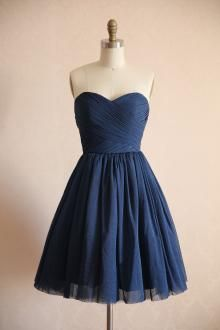 Hot Sale Short Navy Blue Sweetheart Pleated Strapless Bridesmaid Dress