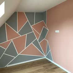 New wall painting decoration shades ideas Bedroom Wall Designs, Bedroom Themes, Tiny Bedroom Design, Geometric Wall Paint, Room Wall Painting, Wall Painting Design, Paint Designs, Room Colors, Wall Murals