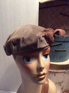 501952e1959 Vintage Velvet Taupe Beret by MyVintageHatBox on Etsy Vintage Shops