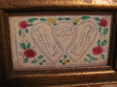 Sweet 'Love Token' Antique Victorian Hand Colored in