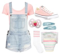 """ddlg -daddy said he wanted to buy me an outfit like this!-"" by princess-llyssa ❤ liked on Polyvore featuring H&M and Converse"