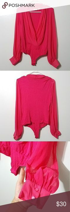 Eva Mendes pink Mila bodysuit In great condition. No flaws. New York & Company Pants Jumpsuits & Rompers