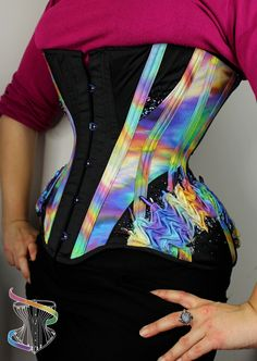 Oil-spill corset with smocked hip panels and beading by Rainbow Curve corsetry