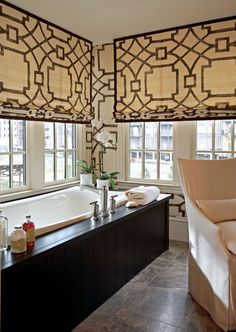 Robert Brown Interior Design - Trellis roman shades and dark wood framed tub in modern bathroom! Fabric for window treatments: (Fretwork/Chocolate, Michael Devine. -- source: Traditional Home Bathroom Window Treatments, Bathroom Windows, Bath Window, Kitchen Windows, Corner Windows, Bathroom Blinds, Tall Windows, Traditional Bathroom, Traditional House