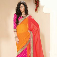 Light #Orange Faux Chiffon and Faux Georgette #Saree with Blouse