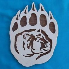 Handmade Wood Items by huebysscrollsawart Dremel Wood Carving, Animal Stencil, Scroll Saw Patterns Free, Laser Art, Bear Paws, Animal Drawings, Bear Animal, Wood Projects, Wall Art Prints