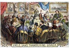 Fine Art Print. THANKSGIVING CARTOON, 1869. Uncle Sam's Thanksgiving Dinner: cartoon, 1869, by Thomas Nast depicting a Thanksgiving table at which
