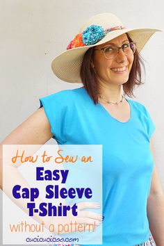 Learn how to make a cap sleeve t shirt without a pattern! In 15 minutes you'll transform a rectangle of jersey into the easiest DIY tee ever! Perfect for beginner sewists! #easysewing #diytshirt Scrap Fabric Projects, Easy Sewing Projects, Sewing Projects For Beginners, Sewing Crafts, Learn To Sew, How To Make, Sewing Patterns Free, Free Sewing, Good Tutorials