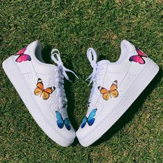 custom nike shoes Tri Color Butterfly , Butterfly , butterfly shoes Krispy Made Rainbow Sneakers, Rainbow Shoes, Cute Sneakers, Shoes Sneakers, Adidas Shoes, Remix Shoes, Adidas Red, Jeans Shoes