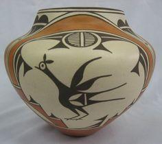 Native American Zia Pueblo Pottery : 1950's Zia Pueblo Bird Polychrome Olla by Sofia Medina #249