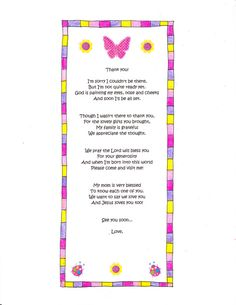 Beautiful A Cute Baby Shower Thank You Poem