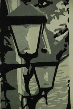 This is a lino cut reduction print by Diane
