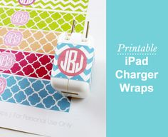Dress Your Tech: Printable Monogrammed iPad Charger Wraps can think of lots of things to do with these! great for bottle cap jewelry, glass tile jewelry & fridge magnets too! #ecrafty