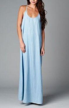 FADES AWAY Boho Chambray Slouchy Maxi Dress Sun/Summer CHELSEA VERDE 268 - 11 Main