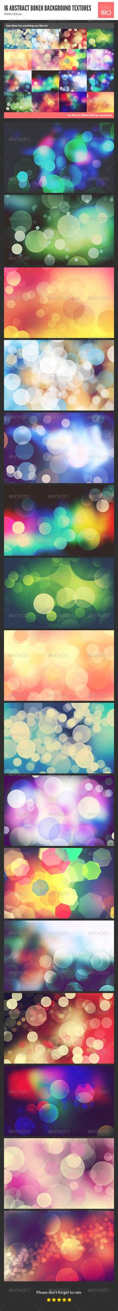 16 Abstract Bokeh Background Textures by env1ro 16 different abstract bokeh backgrounds / textures which you can use for anything you like to! Size: 50003200 px Color mode: RGB