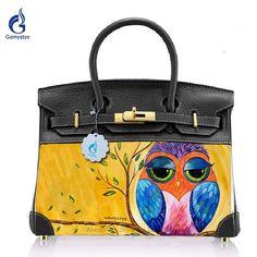 a53d383127ec Birkin High Quality Genuine Leather + Canvas handbags Crossbody bags for women  Purse Art Hand Painted